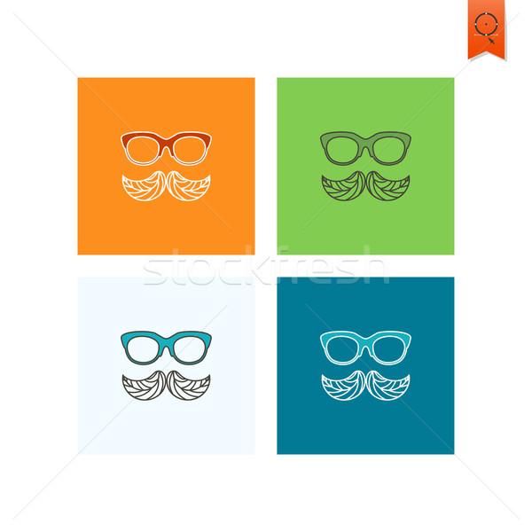 Wąsy pozostawia jesienią ikona proste Zdjęcia stock © HelenStock