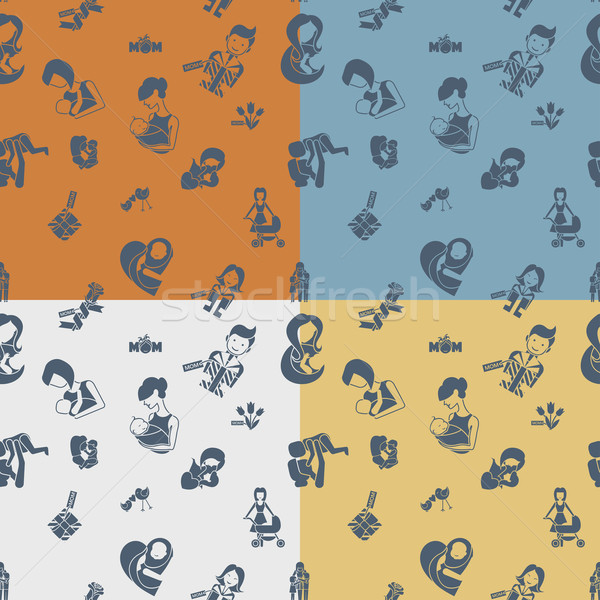 Anyák nap végtelen minta négy különböző színek Stock fotó © HelenStock