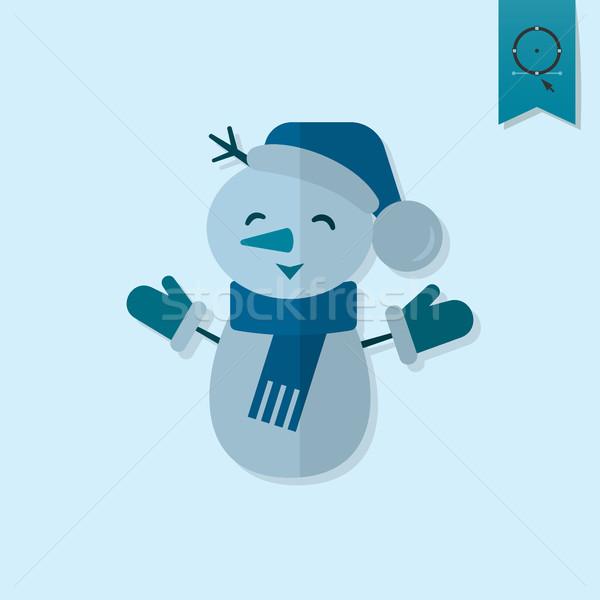 Komik kardan adam eşarp tek renkli renk ikon Stok fotoğraf © HelenStock