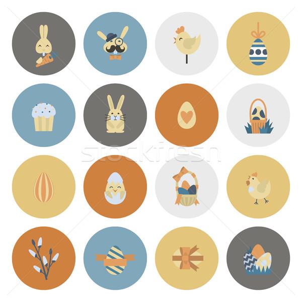 Celebração páscoa ícones vetor limpar trabalhar Foto stock © HelenStock
