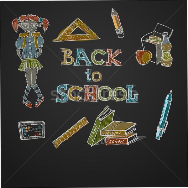 Okula geri eps 10 kız kitap çocuk Stok fotoğraf © HelenStock