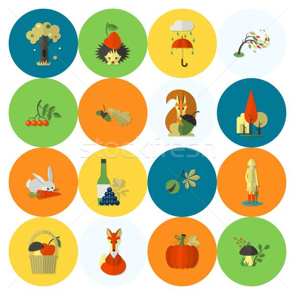 набор осень иконки простой Сток-фото © HelenStock