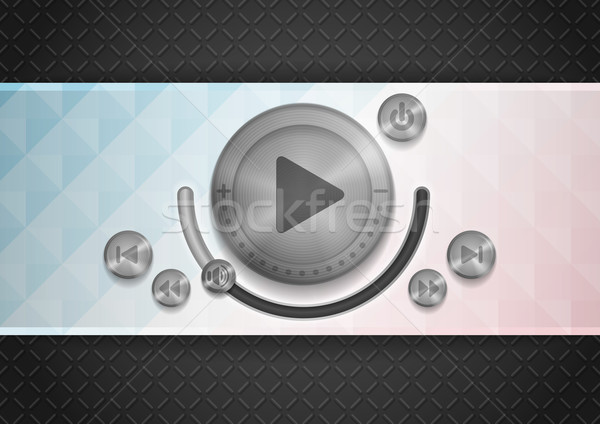 Abstract Technology App Icon With Music Button. Stock photo © HelenStock