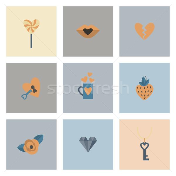 Szczęśliwy walentynki ikona proste kolekcja ślub Zdjęcia stock © HelenStock