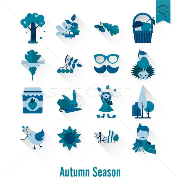 Zdjęcia stock: Zestaw · jesienią · ikona · proste