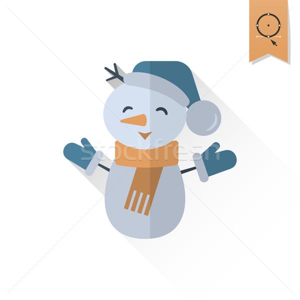 Drôle bonhomme de neige écharpe longtemps ombre rétro Photo stock © HelenStock
