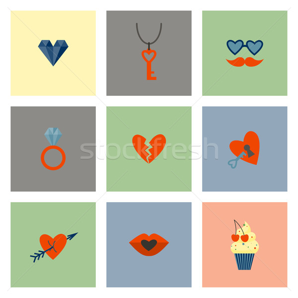 Happy Valentines Day Icons Stock photo © HelenStock