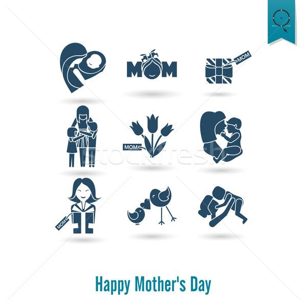 Feliz dia das mães ícones simples vetor limpar trabalhar Foto stock © HelenStock