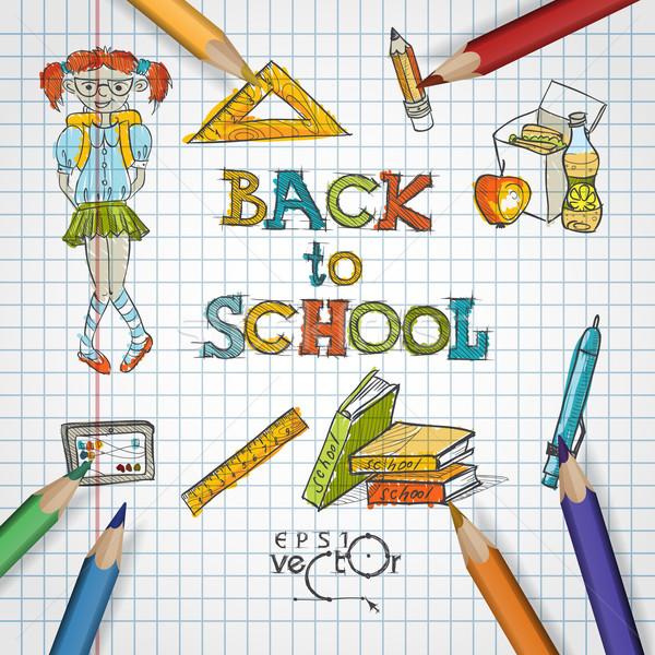 Stok fotoğraf: Okul · okul · malzemeleri · eps · 10 · bilgisayar · kız
