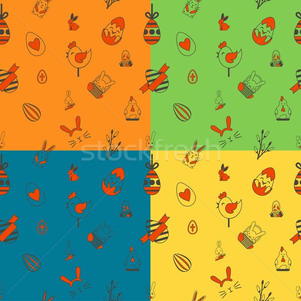 Paskalya dört farklı renkler vektör Stok fotoğraf © HelenStock