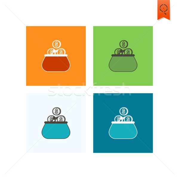 Pénztárca érmék üzlet pénzügy ikon egyszerű Stock fotó © HelenStock