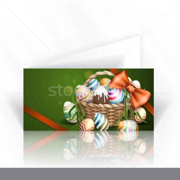 Húsvét kosár meghívó design sablon tele húsvéti tojások Stock fotó © HelenStock