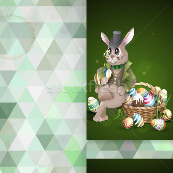 Conejo de Pascua cesta tarjeta de felicitación plantilla de diseño completo pintado Foto stock © HelenStock