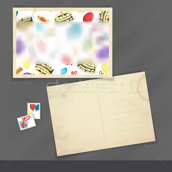Stok fotoğraf: Eski · kartpostal · tasarım · şablonu · renkli · doğum · günü · iş