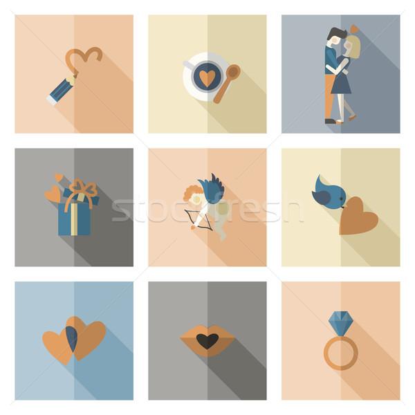 счастливым иконки простой коллекция свадьба Сток-фото © HelenStock