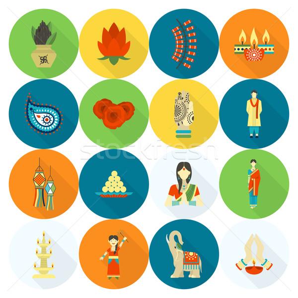 ディワリ インド 祭り アイコン 単純な ストックフォト © HelenStock