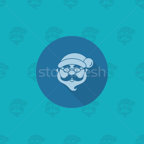 Kerstman hoofd monochroom kleur lang schaduw Stockfoto © HelenStock