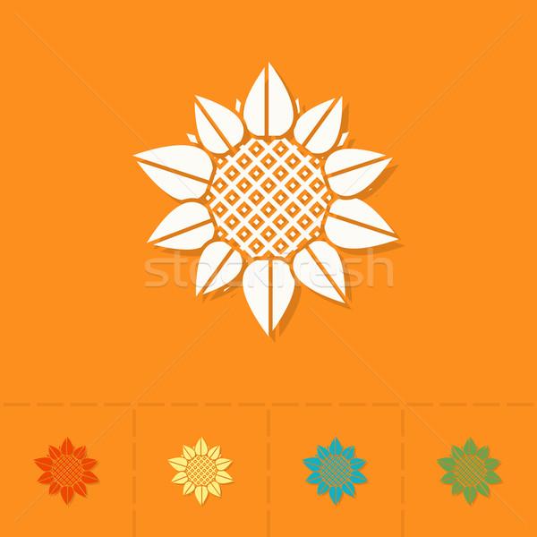 Słonecznika jesienią ikona proste stylu Zdjęcia stock © HelenStock