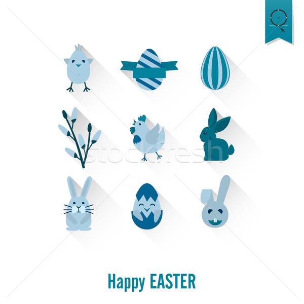 ünneplés húsvét ikonok vektor tiszta munka Stock fotó © HelenStock