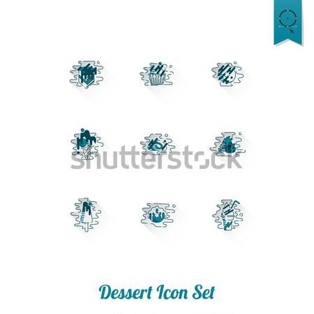 Dessert modernen Design Stil Symbole Stock foto © HelenStock