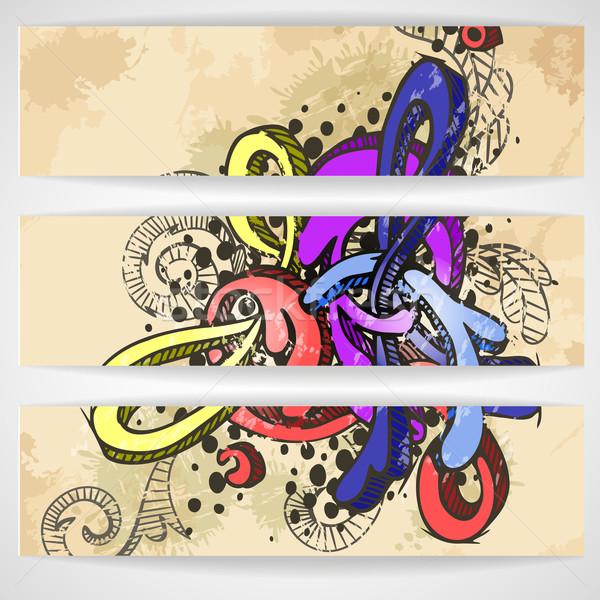 Absztrakt színes graffiti minta eps 10 Stock fotó © HelenStock