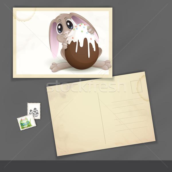 Húsvéti nyuszi csokoládé tojás öreg képeslap design sablon Stock fotó © HelenStock