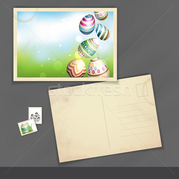 Húsvéti tojások fű öreg képeslap design sablon eps Stock fotó © HelenStock