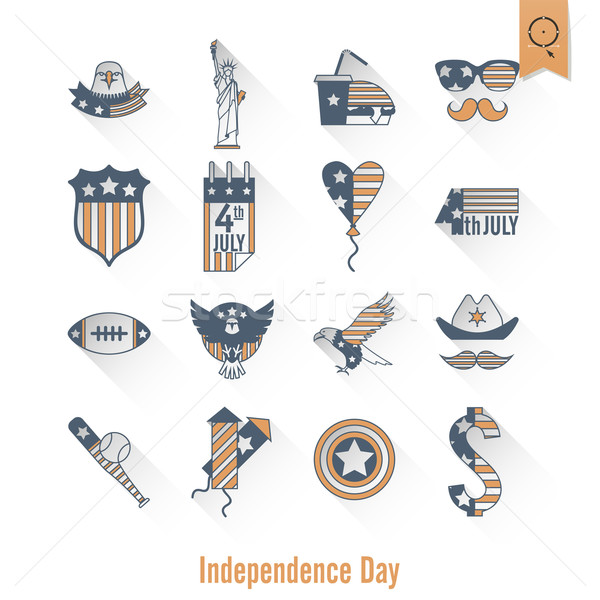 Dag Verenigde Staten eenvoudige iconen vector Stockfoto © HelenStock