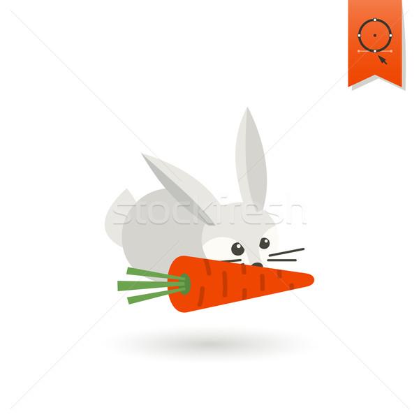 ウサギ ニンジン 秋 アイコン 単純な ストックフォト © HelenStock