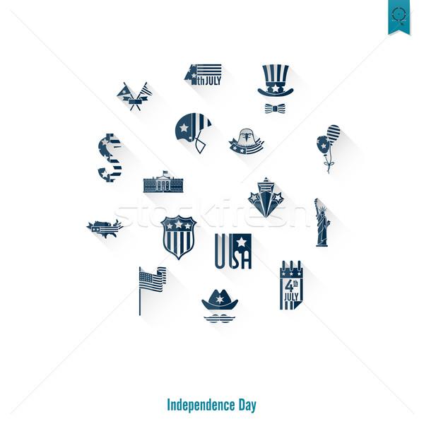 Stock fotó: Nap · Egyesült · Államok · negyedike · egyszerű · ikonok · vektor