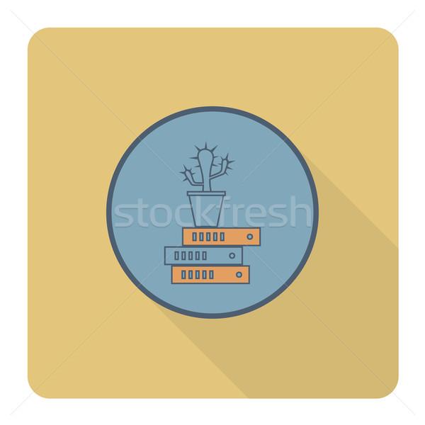 Cactus carpetas negocios financiar icono simple Foto stock © HelenStock