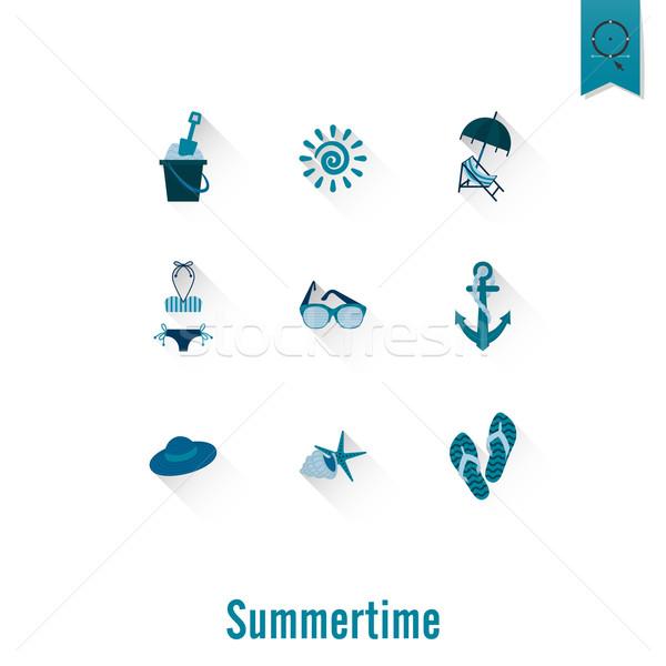 ストックフォト: 夏 · ビーチ · 単純な · アイコン · 旅行 · 休暇