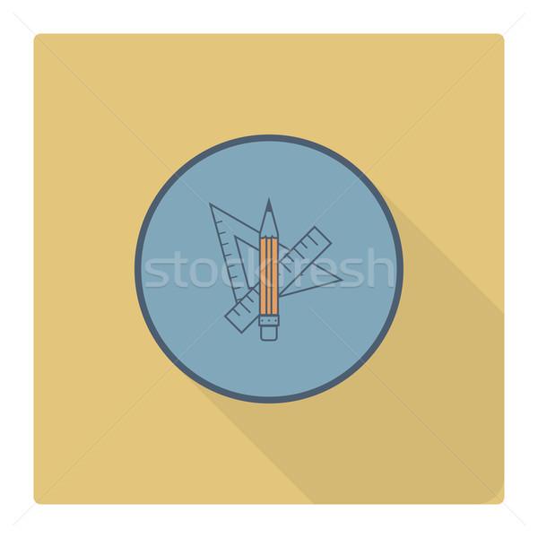 Escolas educação ícones ícone governante lápis Foto stock © HelenStock