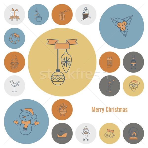 Natal inverno ícones coleção retro cor Foto stock © HelenStock