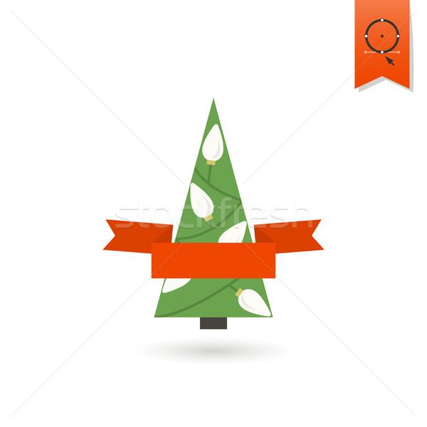 Сток-фото: стилизованный · рождественская · елка · лента · красочный · икона · дерево