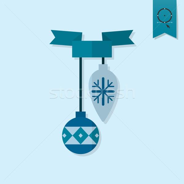 ストックフォト: クリスマス · ボール · リボン · モノクロ · 色 · アイコン