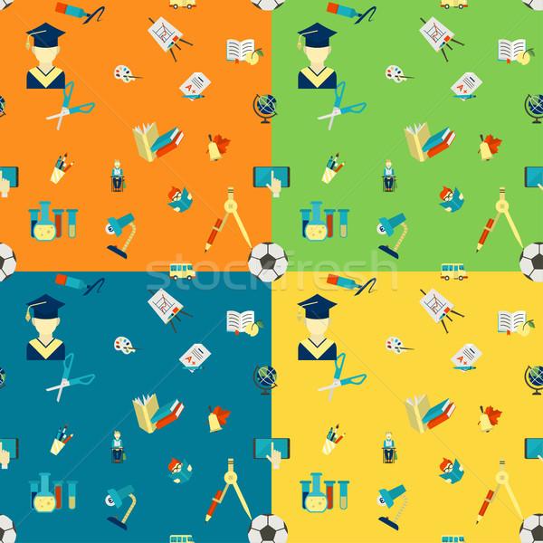 Powrót do szkoły szkoły cztery inny kolory Zdjęcia stock © HelenStock