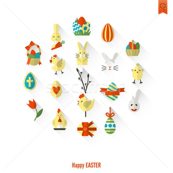 Célébration Pâques icônes vecteur propre travaux Photo stock © HelenStock