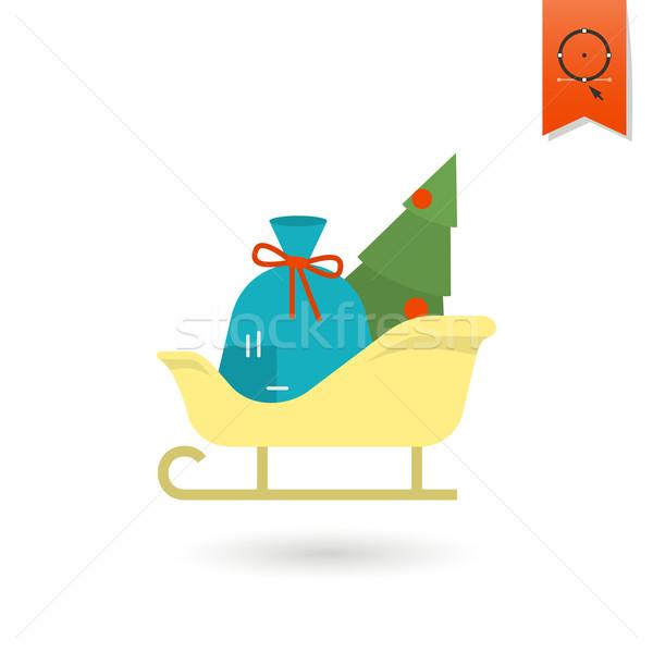 Karácsony szánkó színes vektor fa felirat Stock fotó © HelenStock