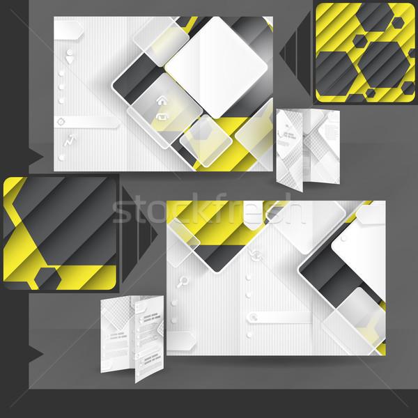 Business brochure sjabloon ontwerp witte vierkante Stockfoto © HelenStock