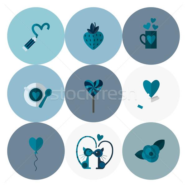 Stockfoto: Gelukkig · valentijnsdag · iconen · eenvoudige · collectie · bruiloft
