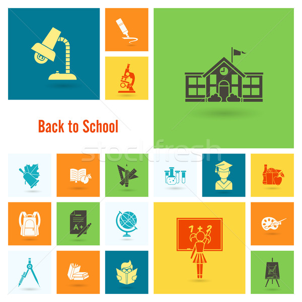 Schule Bildung Symbole Design Stil Stock foto © HelenStock