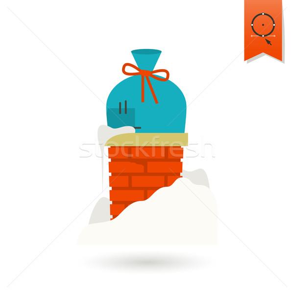 Рождества подарок дымоход красочный икона знак Сток-фото © HelenStock