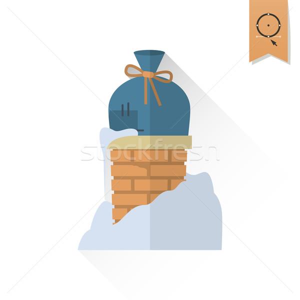 Noël cadeau cheminée longtemps ombre rétro Photo stock © HelenStock