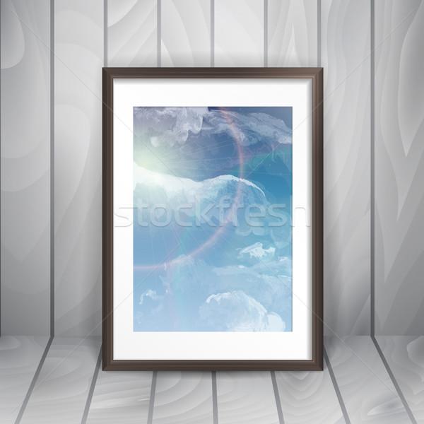 フォトフレーム 壁 eps 10 テクスチャ 木材 ストックフォト © HelenStock