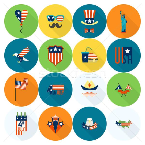 Nap Egyesült Államok negyedike egyszerű ikonok vektor Stock fotó © HelenStock