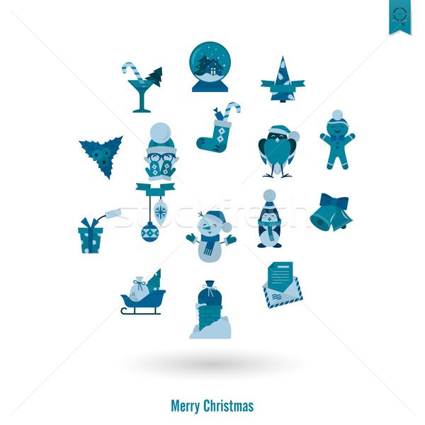 Karácsony tél ikonok gyűjtemény monokróm szín Stock fotó © HelenStock