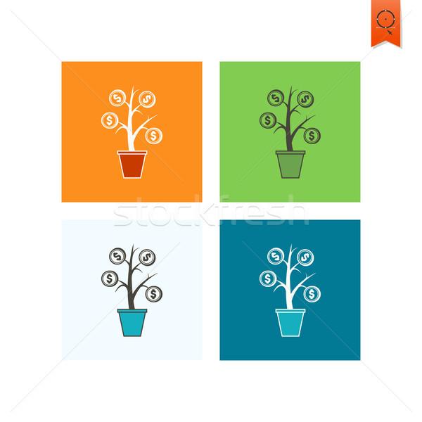 Pénz virág üzlet pénzügy ikon egyszerű Stock fotó © HelenStock