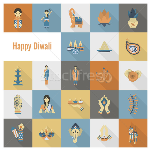 Stock photo: Diwali. Indian Festival Icons