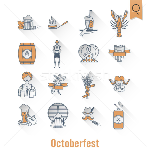 Oktoberfest birra festival lungo ombra design Foto d'archivio © HelenStock